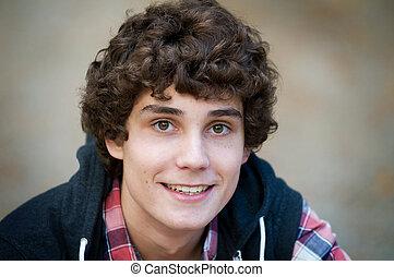 close up of teen boy