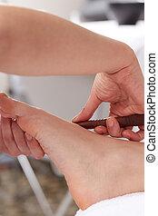 close up of thai foot massage