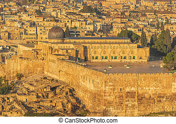 Close up of the Al-Aqsa mosque in the center of old town Jerusalem
