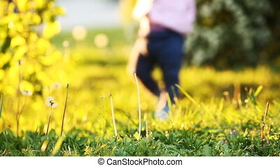 Close-up of the baby-girl taking first steps on the grass in...