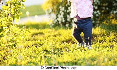 Close-up of the baby-girl taking first steps on the grass in the park at sunset.