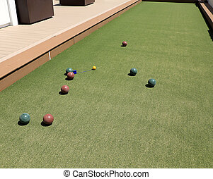 Close up of the bocce balls during play.