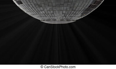 Close-up of the bottom of the silver disco ball with alpha channel