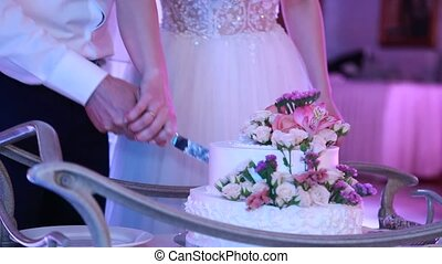 Close-up of the bride and groom cut the wedding cake