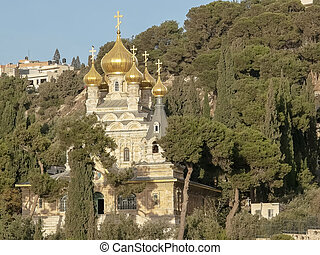 close up of the church mary magdalene in jerusalem
