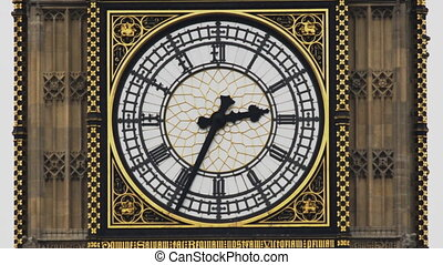 close up of the clock face, big ben, british parliament...