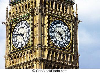Close-up of the clock face of Big Ben, London