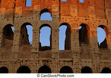 Close up of the Colosseum in Rome