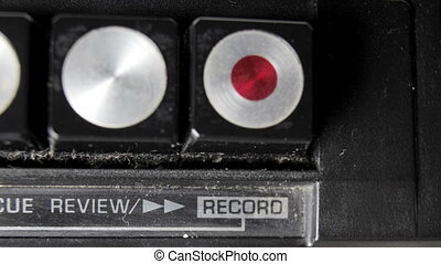 Close-up of the controls of an old retro radio