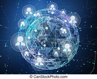 Close up of the Earth in the dark blue background and a network on top of it. Concept of globalisation. 3d illustration