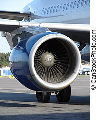 Close up of the engine of plane