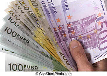Close-up of the fan of 100, 200 and 500 Euro banknotes