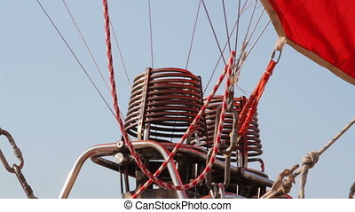close up of the gas engines on a hot air balloon