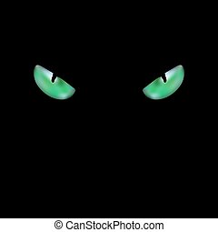Close up of the head of black cat with glowing green eyes