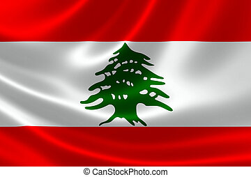 Close-up of the Lebanese Republic's Flag - 3D rendering of...