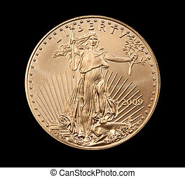 Close up of the Liberty side of a gold coin