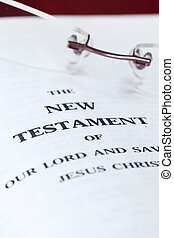 Close up of the New Testament. Shallow DOF, selective focus.