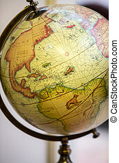 Close-up of the old globe