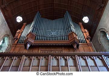 Close-up of the organ in the church in the grounds of the Ashdow