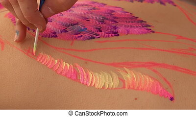 Close up of the painting process - Talented painter works in...