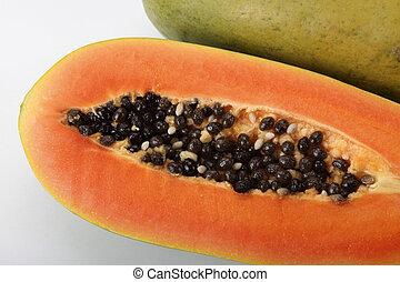 papaya - close up of the papaya on the plain background