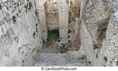 close up of the pool of bethesda ruins in jerusalem