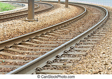 Close-up of the railway tracks complex junction