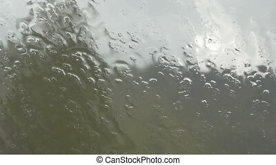 Close-up of the rain pouring on the