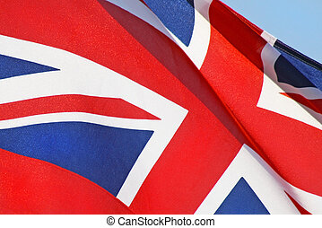Close up of the red white and blue Union Jack Flag