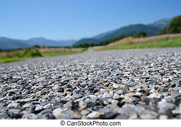 Close-up of the road surfacing