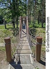 Close-up of the rope bridge