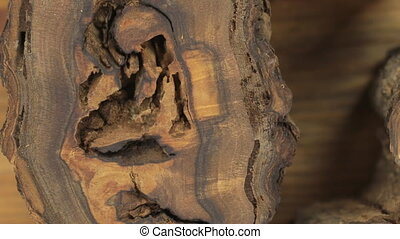 Close-up of the rotation of a very unusual texture of walnut...
