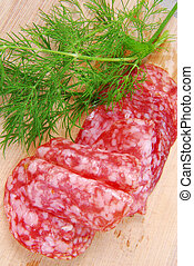 close up of the salami