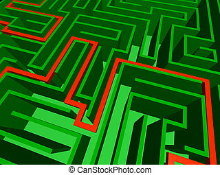 Close-up of the solved maze