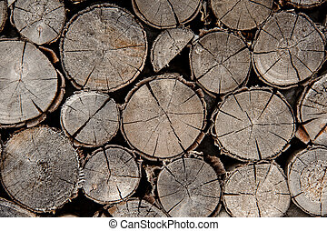 Close up of the textured background of the different shape cracked firewood logs in cut