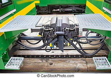 Close up of the train coupler