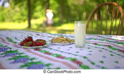 Close up of the village breakfast. Glass of milk, strawberry and cookies on the table. Woman and nature on the blured background.