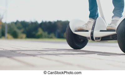 the wheels of a gyroscooter on the road