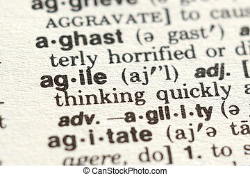 The Word Agile - Close-up of The Word Agile in a Dictionary