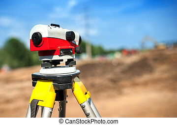 close-up of theodolite measuring system or surveying...