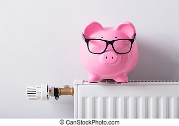 Thermostat And Piggy Bank With Eyeglasses On Radiator