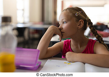 Close-up of thoughtful schoolgirl leaning on desk and looking away in classroom