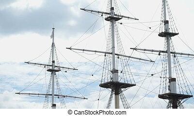 Close up of three masts of frigate - Beautiful seascape -...