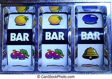Jackpot on slot machine - Close up of three seven Jackpot on...