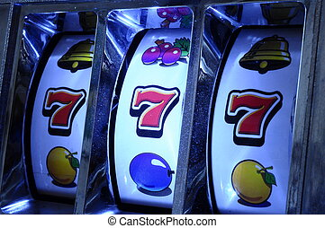 Jackpot on slot machine - Close up of three seven Jackpot on...
