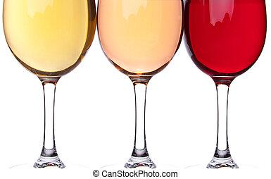 Close-up of three wineglasses