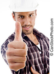 close up of thumbs up against white background