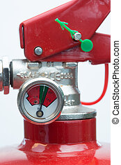 Close up of top of fire extinguisher