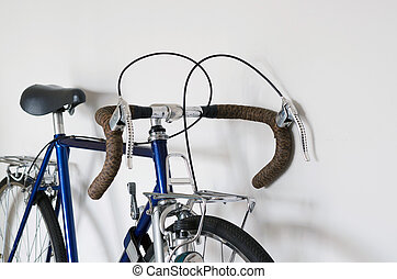 Close up of Touring Bicycle on whit