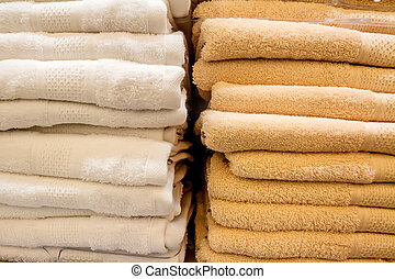 Close up of towels in supermarket